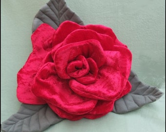 Large Red Rose Pillow, Rose Decoration, Rose Ring Bearer Pillow, OOAK Rose Pillow