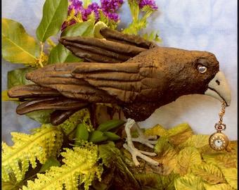 Soft Sculpture Paper Mache Raven named Raphael-Crow Doll
