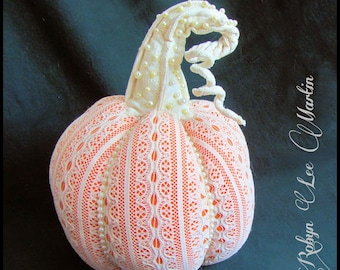 Soft Sculpture Pumpkin with Pearls and Lace Fall Decoration