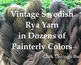 Vintage Rya Yarn Remnants. Swedish Bergå wool 2-ply yarn from 1960-70. This is all I have.  For weavers and rya rug makers.
