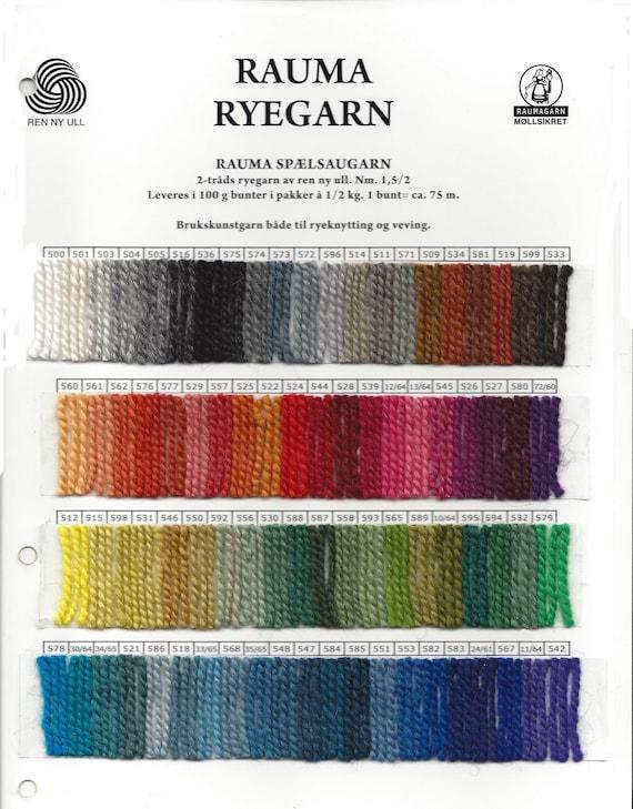 Rya yarn One Skein of Rauma Ryegarn from Norway .. Choose any color on the drop-down menu 100/% Virgin wool