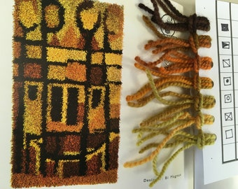 """Rya Rug Kit from Norway """"Aks"""" ...Heritage Wool yarn, Wool & Linen backing. Instructions in English. 80 x 150 cm or +/- 32"""" x 59"""""""