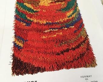 "Midcentury Modern Rya Rug Kit from Norway called ""Soldans"" Heritage Sheep Wool yarn, Wool & Linen backing, All Supplies included"