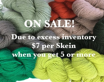 On Sale. Excess Lundgren Rya Rug Yarn in 5-Skein Color groupings.  Choice of 7 colors. 30% Discount.