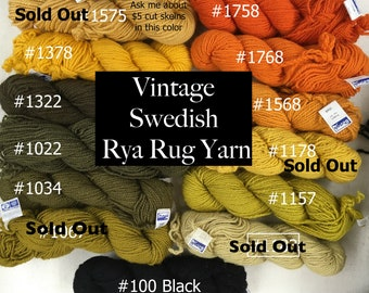 Vintage Rya Yarn. Swedish Berga Bergå wool 2-ply yarn from 1960-70. Limited Supply. For weavers and rya rug makers.
