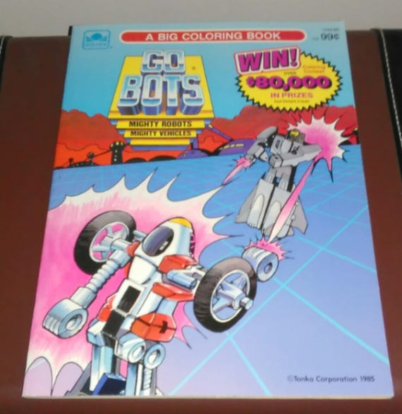 Go Bots Mighty Robots 80s Coloring Book Unused Condition Vintage 80s Toys Vintage Robots Free Shipping