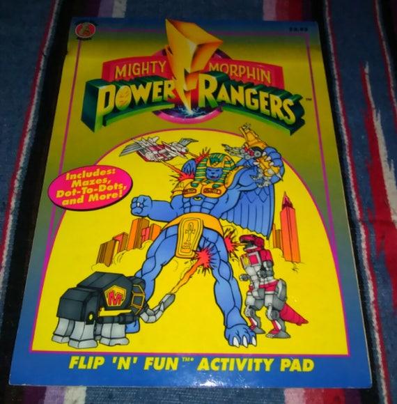 Power Rangers Coloring Book Mighty Morphin Power Rangers Vintage 1994 Flip  N Fun Activity Pad Coloring Book Vintage Power Rangers 90s