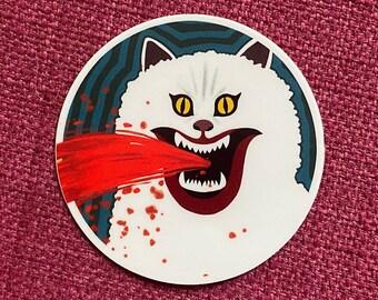 HAUSU House movie Blanche cat painting vinyl sticker or decal, bloody, horror, halloween