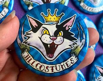 JILLCOSTUMES Fursuit Maker Logo Button pinback badge, featuring my furry cat mascot!