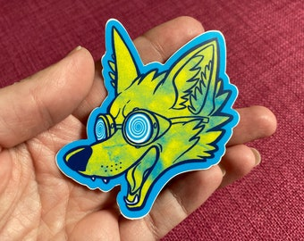 Mad Science Fox head vinyl sticker or decal, goggles, wolf, crazy, steampunk, geeky