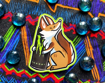 Energy Caffeine Drink Coyote furry Vinyl Sticker, cute, dog, wolf, cartoon, decal, for laptop and more!