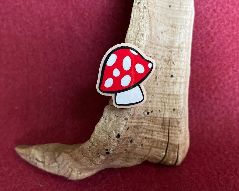 tack brooch Cute Red Mushroom acrylic pin