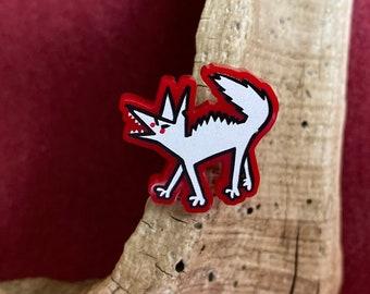 Cute Angry Grumpy Barking Dog coyote jackal acrylic pin, brooch, tack. So much RAGE!