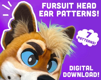 7 Fursuit head EAR Pattern DIY PDF digital download template for mascot, costume, cosplay. Dog, cat, ferret, base, templates for furry ears