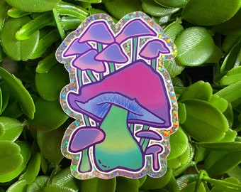 Magic Mushroom rainbow holographic glitter vinyl sticker or decal, holo, shiny, cute, witchy, goth, sparkly, trippy, psychedelic, retro