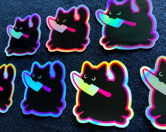 Black Knife Cat holographic vinyl sticker or decal, holo, shiny, cute, evil kitty, witchy, familiar, goth, funny, Halloween