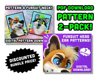 Fursuit Neck and Ears for Head Making Pattern Bundle DIY PDF digital download template for mascot, costume, cosplay, furry