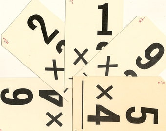 Vintage Flash Cards, School Arithmetic, Multiplication Flash Cards, Math Flash Cards, Paper Ephemera Pack, Five Cards for Paper Art PSS 3044