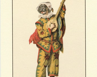 Italian Postcard Commedia dell'Arte Trivellino to Mail, Frame or use in Paper Arts, Collage, Scrapbooking, Mixed Media and More PSS 4837
