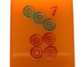 Vintage Bakelite Mahjong Tile, Seven Dots Circle Game Piece for Assemblage, Mixed Media, Crafts, Jewelry, Mah Jongg, Mah Jong PSS 4927