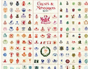 London Crests & Monograms Wrapping Paper by Cavallini to Frame or Gift Wrap, Book Binding, Decoupage, Collage, Scrapbook, Paper Art PSS 3406