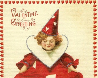 Valentine Greeting Card by Cavallini to Mail or for Framing, Collage, Scrapbooking, Paper Arts PSS 3554