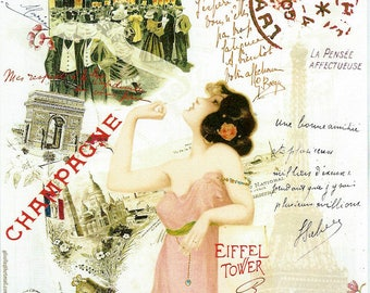 French Pink Champagne Collage Poster to Frame or for Paper Arts, Collage, Scrapbooking PSS 3302