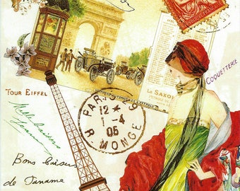 French Lady in Red Collage Poster to Frame or for Paper Arts, Collage, Scrapbooking PSS 3303