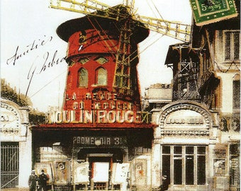 French Moulin Rouge Postcard Poster to Frame or for Paper Arts, Collage, Scrapbooking PSS 3301