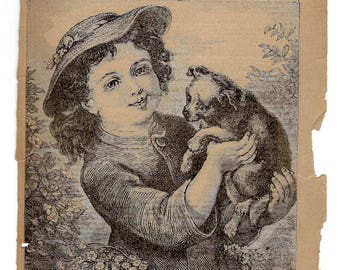 Young Girl and a Puppy Rare Antique Book Page Etching from 1889 Young America Children's Book to Frame or to use in Paper Arts PSS 3156