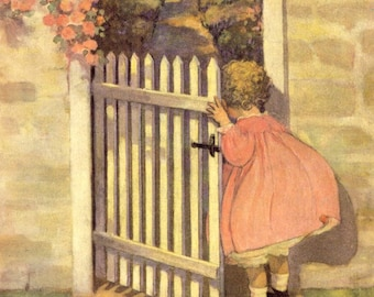 Jessie Willcox Smith Young Girl Peeking in the Garden Gate Digital Collage Sheet Instant Download to Frame or for Paper Arts PSS 3519