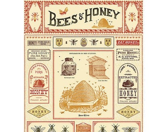 Bees & Honey Wrapping Paper by Cavallini to Frame or for Gift Wrapping, Book Binding, Decoupage, Collage, Scrapbook, Paper Arts PSS 3358