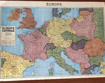 Cavallin World Map 1930s Vintage design New Poster Wrap