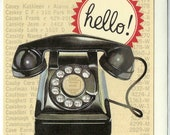 Vintage Telephone Greeting Card by Cavallini to Frame or Use in Craft Projects PSS 3670