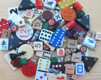 Variety Game Pieces - 20 Mixed Metal, Plastic and Paper for Assemblage, Mixed Media, Jewelry, Junk Journals PSS 1619