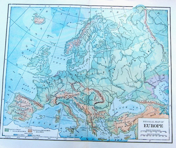 1923 Antique Physical Map of Europe to Frame or for Collage, Scrapbooking,  Paper Arts, Mixed Media and MORE PSS 1899