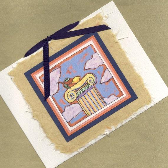 Greeting Card Handmade Lemon on a Pedestal All Occasion Handmade Greeting Card PSS 1652