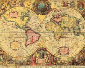 Vintage Old World Map Paper for Decoupage, Collage, Paper Art Craft Projects, Mixed Media, Scrapbooking PSS 4459