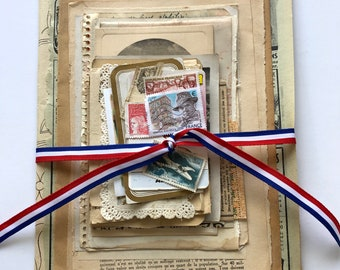 Vintage French Ephemera 30 Pieces Original French Mixed Paper Pack for Collage, Junk Journals, Scrapbooking, Decoupage & Paper Arts PSS 4534