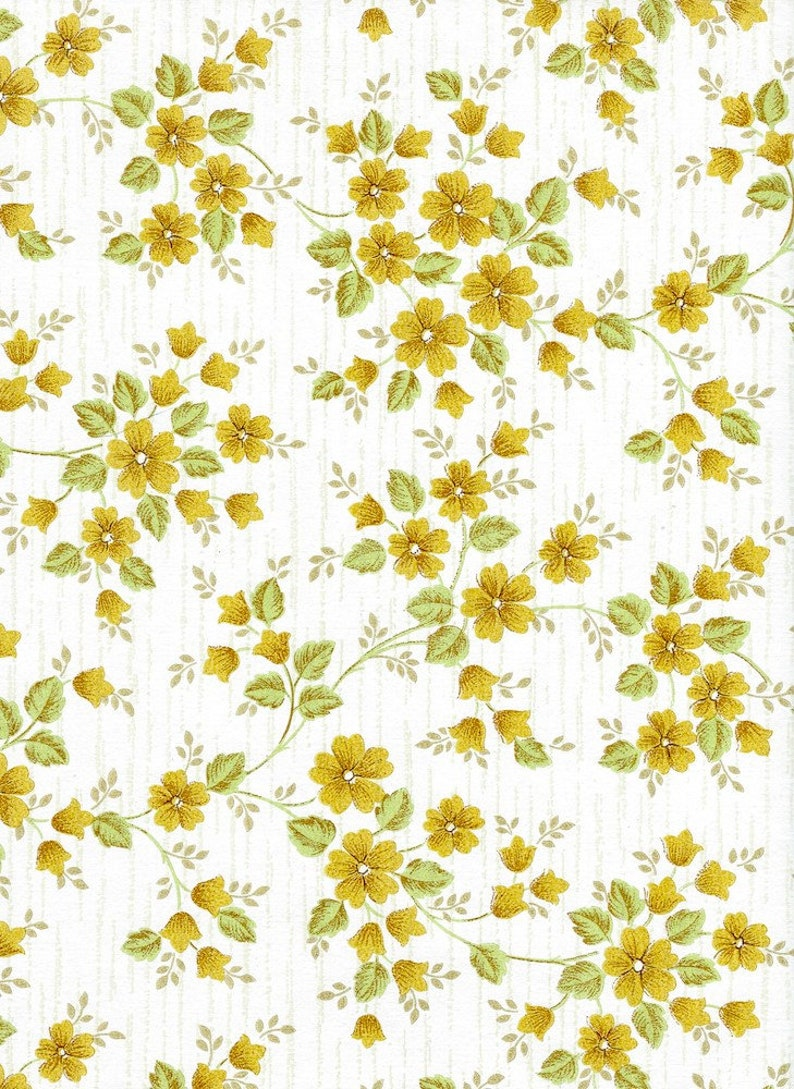 Petit Yellow Floral Wallpaper Remnants 2 Vintage Pages For Etsy