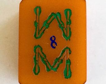 Vintage Bakelite Mahjong Tile, Eight Bam Bamboo Game Piece for Assemblage, Mixed Media, Crafts, Jewelry, Mah Jongg, Mah Jong  PSS 3642