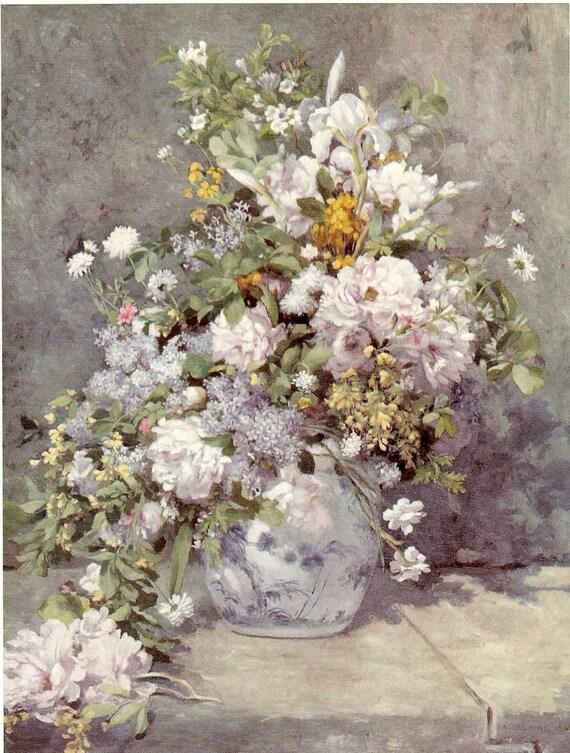 Pierre Auguste Renoir A Large Vase Of Flowers 1866 Antique