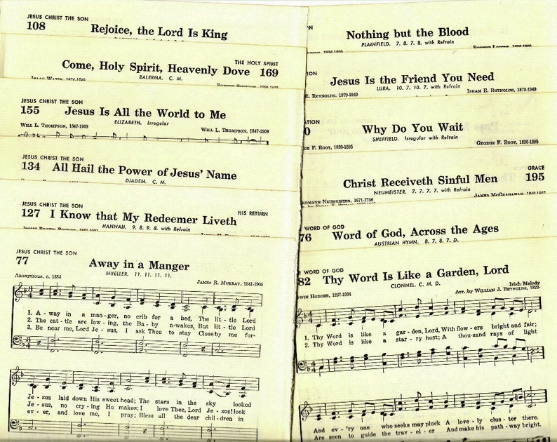Religious Music Pages from Baptist Hymnal for Paper Arts   Etsy