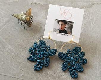 teal floral earrings   LILY   modern floral, botanical, brass earrings, spring jewelry, flower jewelry, bridesmaid, bride, gift