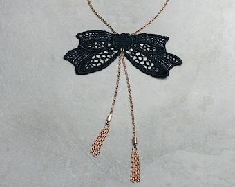 black bow necklace   ABERDEEN   tassel necklace, gift jewelry, preppy, feminine, girly, victorian, bowtie, girlfriend gift, valentine gift