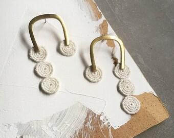 brass statement earrings   GAMELA   geometric brass earrings, modern earrings, dangle earrings, geometric, statement earrings, lace, minimal