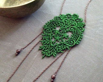 long necklace -SIRI- emerald green - lace necklace, victorian necklace, girlfriend gift , wedding necklace, romantic jewelry, boho necklace