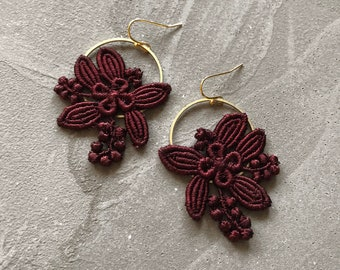 burgundy floral earrings   LILY   modern floral, botanical, brass earrings, fall jewelry, flower jewelry, bridesmaid, maroon, wine colored