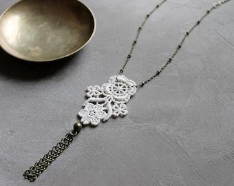 tassel necklace   FREJA   cream lace necklace, bridal necklace, long necklace, romantic jewelry, boho necklace, victorian, eco friendlyeco