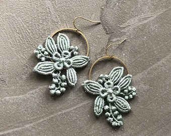 mint floral earrings   LILY   modern floral, botanical, brass earrings, spring jewelry, flower jewelry, bridesmaid, bride, gift